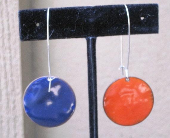 Beautiful orange and blue hand forged copper & enamel  dangle earrings
