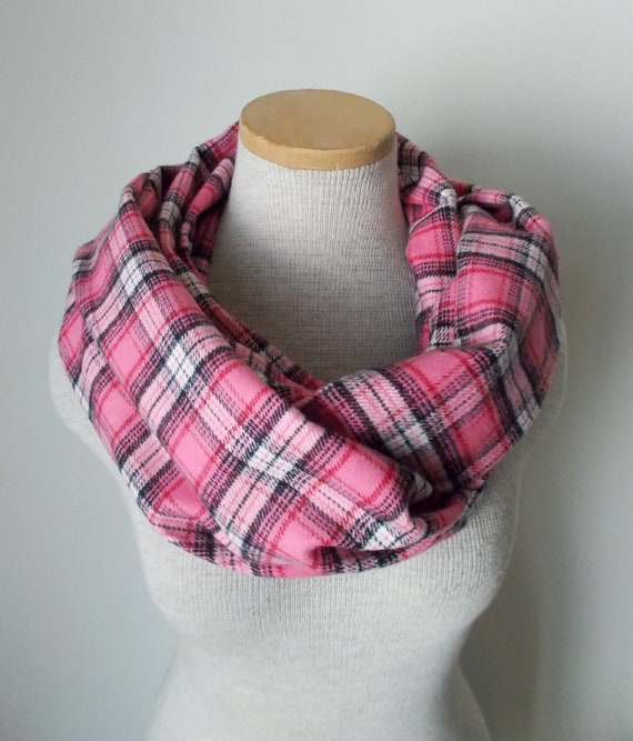 Infinity Scarf Pink Plaid Flannel Cotton Cowl