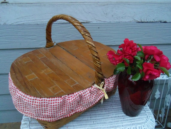 Vintage Picnic basket or Sewing Basket Storage Woven Wicker Cotton Red Checkered Double Wicker Hinged Lid