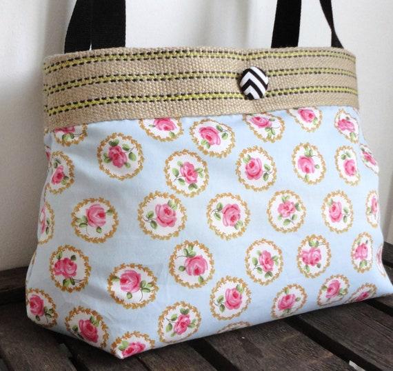 Romantic roses hobo bag with burlap
