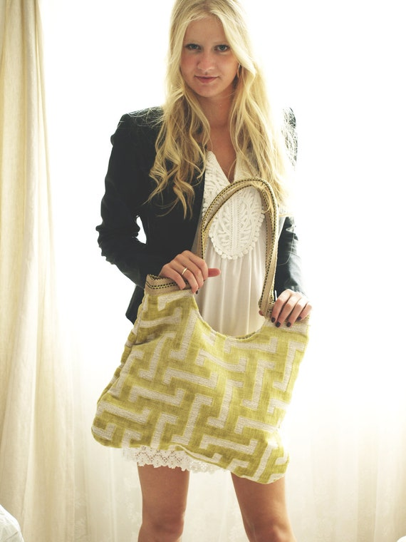 Labyrinth Yellow  tapestry tote bag with jute, fashion 2013