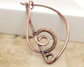 Copper shawl pin or scarf pin in Treble clef design