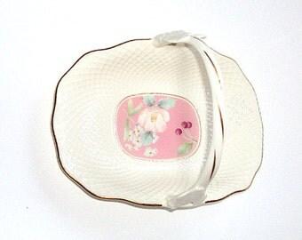 Vintage Mikasa ,Bridal Basket,  Fine Bone China, Narumi Japan Pink Botanical B2020, Gold Accents      I Take CREDIT Cards