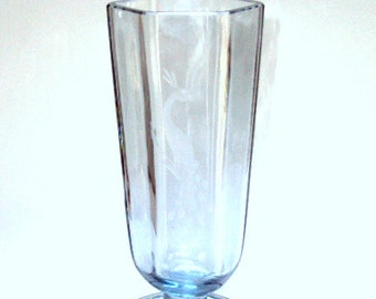 Vintage Blue Glass Vase, Swedish from the Sixties, blue hue Crystal with Etched Peacock Design   I Take Credit Cards