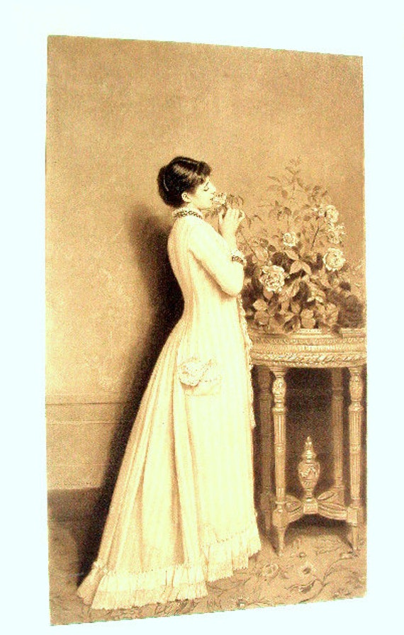 Vintage Photogravure Art Print, cr.1880s, Goupil & Co. Sepia tint, Woman With Table and Flowers, Victorian Dress, Paper