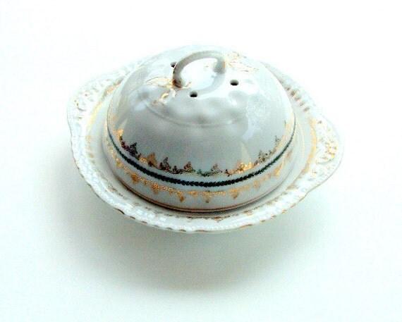 Vintage Butter Dish,Porcelain,Emery Victoria Austria, Pattern 336 22K Gold and Green Vine   RESERVE  for AMALIA