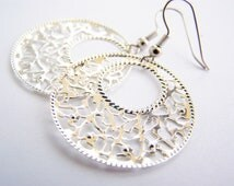 Summer in the Hamptons - Silver Filigree Hoops FREE SHIPPING WAI - affordable gifts - beach inspired treasures