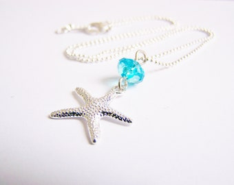 Silver Plated Starfish Necklace on 18 Karat White Gold Plated Chain - FREE SHIPPING - Bridesmaids Gifts - sets - Weddings - beach - seaside