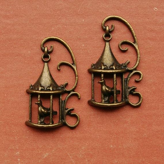 2 metal bird cage charms, brass tone - ME0093