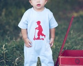 Speedy Scooter Nostalgic Graphic Tee Onesie / Romper in Short Sleeves - Sky with Red Free Shipping