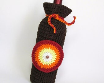 Wine Cozy Crochet Gift Bag Bottle Sack Earth Brown Detachable Coaster Fiery Sunrise Rich Autumn Hues