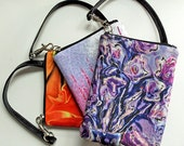 MINI WALLET BAG - Floral.  Shown in Lavender Bouquet, Pink Wildflowers, Flame Image Designs.  Also available in Purple Tulip not shown.