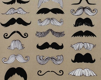 SALE - Alexander Henry Where's My 'Stache in Taupe - Half Yard