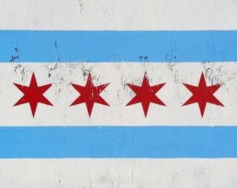 24 x 36 Large Rustic Chicago Flag
