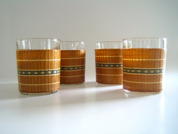 Mid Century On The Rocks Tumblers with Built in Woven Wraps for Condensation