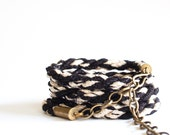 SALE LAST ONE Black and white Braided wrap bracelet