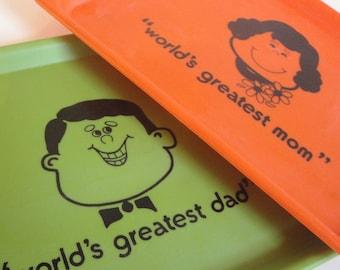 Vintage Serving Tray Worlds Greatest Mom Dad Orange Avocado