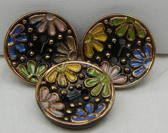 Sew Through Flower Czech Glass Buttons (3)