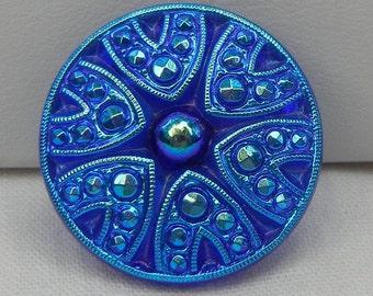 Medium Dramatic Czech Glass Button