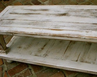 """Wooden Coffee Table - WIDE SIZE - Shabby, Handmade - Country Cottage - 45"""" long x 30"""" wide x 16"""" tall"""