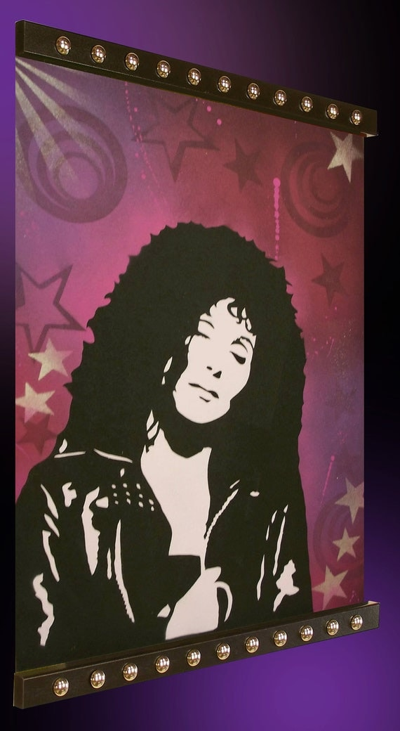 24 x 32 Pop Art Spray Painting Original Custom CHER Rock and Roll . Unframed . Without Frame