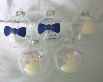 Handpainted Flower Girl and Ring Bearer Glass Ball Ornament Personalized
