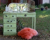 Green Vintage Desk with Anthropologie glass knobs