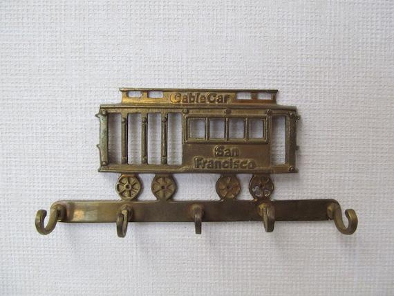 Vintage  / San Francisco /  Brass Cable Car / Kitchen Gadget Holder /  Key Holder
