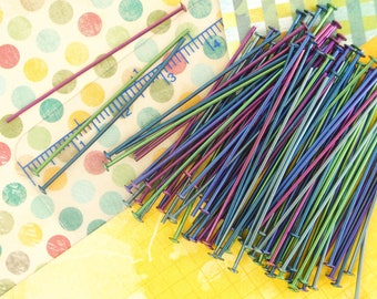 10 Colorful Anodized Niobium Head Pins Anodized After Making - Hypoallergenic