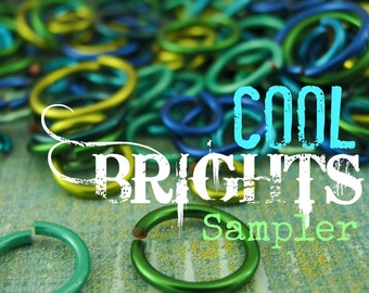 100 - COOL Brights Colored Jump Ring Sample Package - You Choose Gauge and Diameter