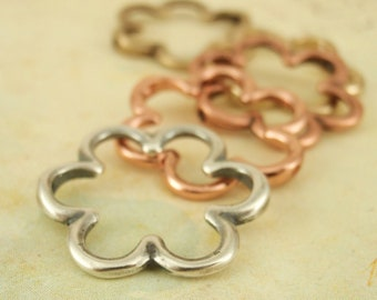 2 Large Flower Charms - You PICK the Finish - Focal Link - 19mm - Gold Plated, Antique Silver, Antique Copper or Copper