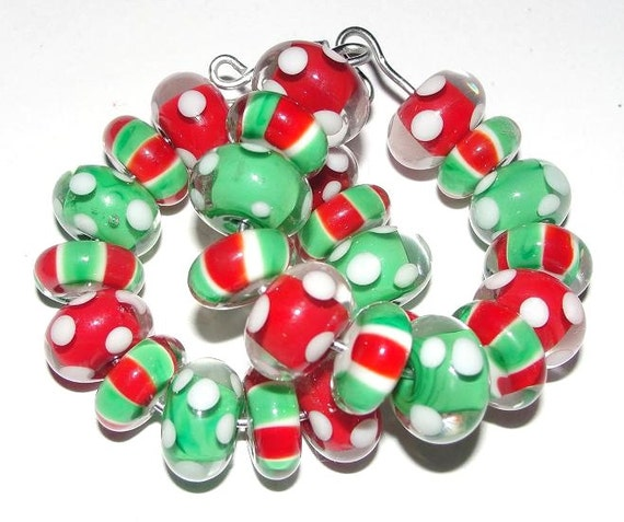 Jingle Bell Rock - Handmade Lampwork Glass Beads by StudioJuls