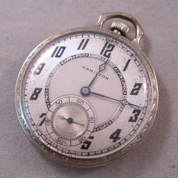 hamilton 1929 pocket deco 17 jewels 14k white gold