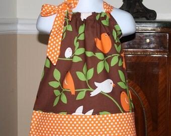 baby fall Pillowcase Dress toddler girl Michael Miller tweet birds brown, orange, white, green polka dots 0-5t