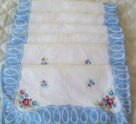 SALE- 6 Vintage linen napkins, sky blue, blue, white, floral, cottage chic, linen, napkin, cloth, napkins