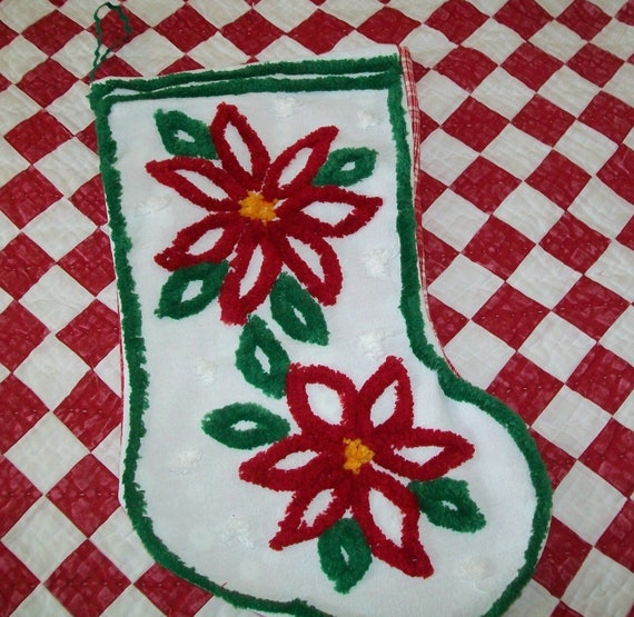 SALE - Chenille stocking, Christmas, holiday, handmade, chenille, red, white, green, floral, stocking