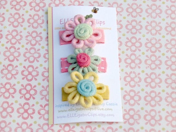 LAST ONE -Eleanor- Pastel Rope Flower Hair Clip Collection (3 piece) - Baby Toddler Hair Clips / Hair Bows