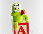 Alphabet Art, ABC sculpture, OOAK, A is for Apple