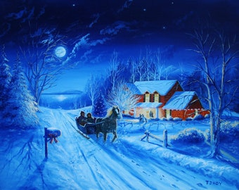 Christmas Winter Sleigh Ride - original, prints, framed prints and greeting cards