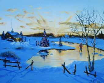 Winter Pond Skating - original, prints, framed prints and greeting cards