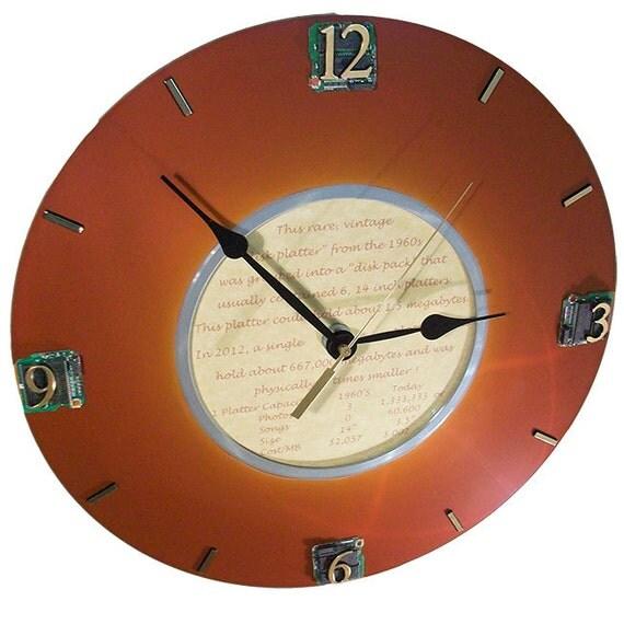 Rare Wall Clock, 1960s IBM Computer Hard Drive Disk Platter Aged to Patina Perfection.