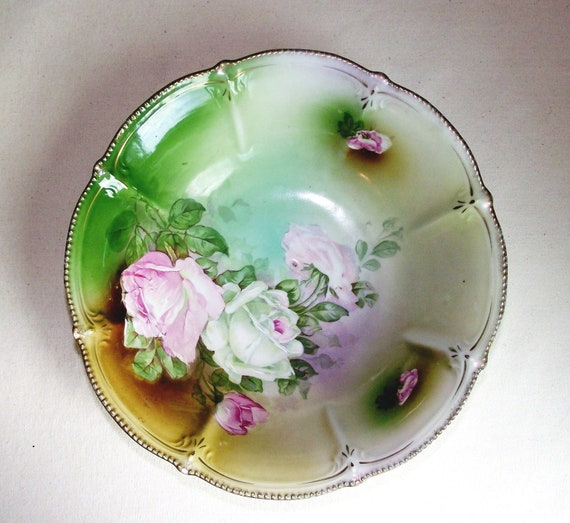 SALE Antique Germany Pink Lime Roses Serving Bowl