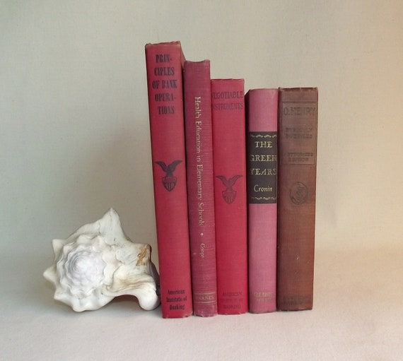 5 Vintage Books In Shades of Red Book Bundle