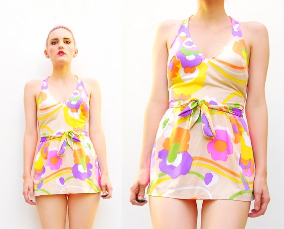 60s Retro Psychedelic Print Swimsuit - Bright Floral Swim - Skirted Pin Up One Piece - 1960s Cole of California - S M 6 8 10
