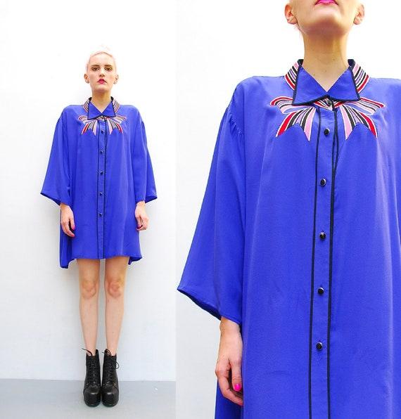 80s Blue Silk Blouse - Bob Mackie Oversized Blouse - 1980s Kimono Tunic  - Embroidered Bow Neckline - PLUS SIZE - L XL 2X 3X