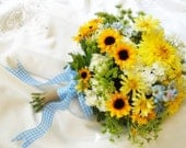 SALE - Sunflower wedding Bouquet Silk bridal blossoms in Yellow, white, Blue, burlap and gingham ribbon details