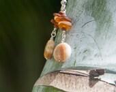 Earth Tone Stacked Sea Glass Earrings