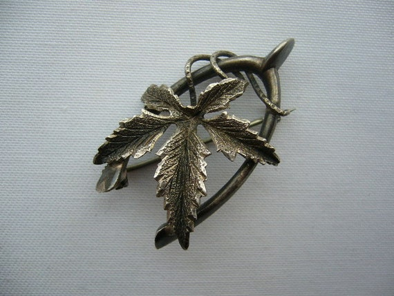 SALE Antique Sterling Silver Brooch Pin Wishbone & Leaf