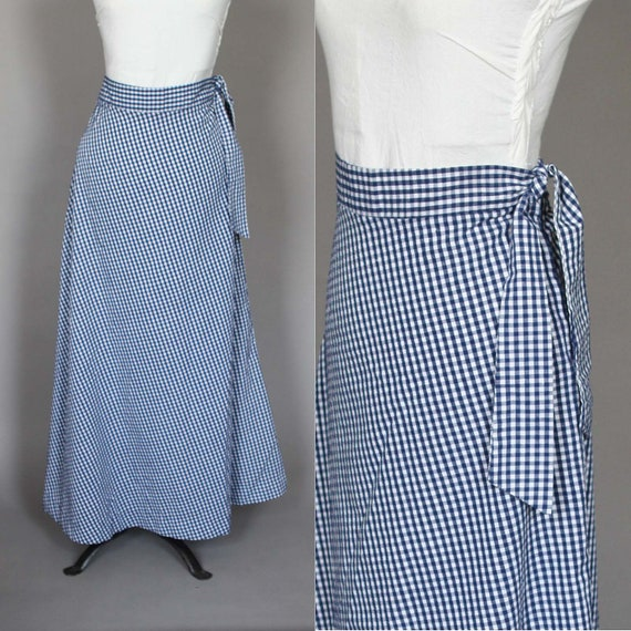 Vintage Maxi Skirt Blue and White Gingham Long 70s 1970s Skirt by Saks Fifth Avenue M L