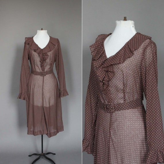 70s Dress Vintage 1970s Brown with White Polka Dots and Ruffles Long Sleeve Sheer with Belt XL Plus Size